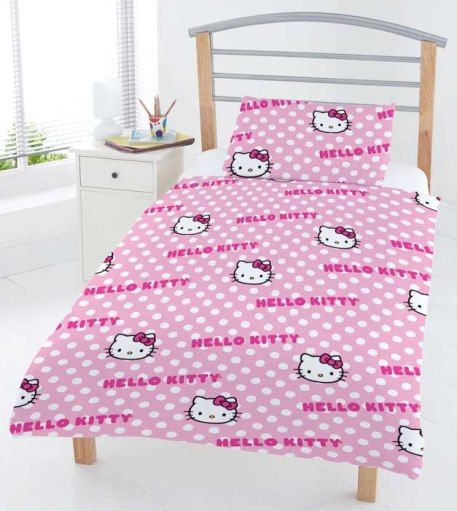 hello kitty gepunktetes junior kinder bettw sche kissenbezug 4 tlg ebay. Black Bedroom Furniture Sets. Home Design Ideas