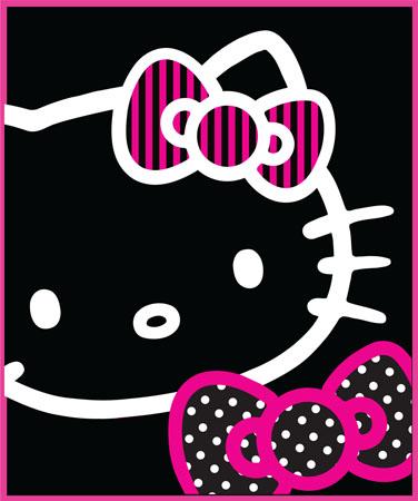 HELLO KITTY BOWS OUTLINE BLACK FLEECE BLANKET THROW NEW   eBay