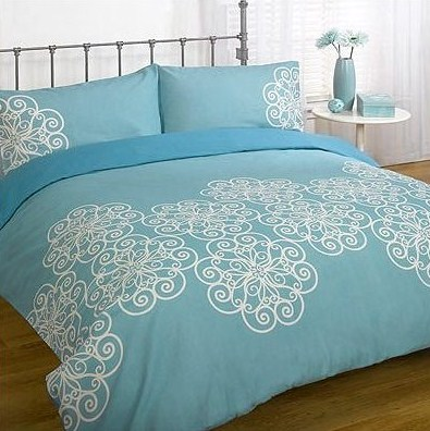 lorette teal green king bedding duvet quilt cover set ebay. Black Bedroom Furniture Sets. Home Design Ideas